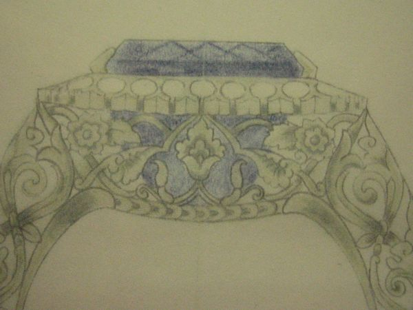 Drawing for Platinum and Sapphire Ring